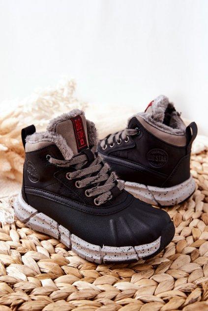Detské členkové topánky farba čierna kód obuvi II374074 BLK