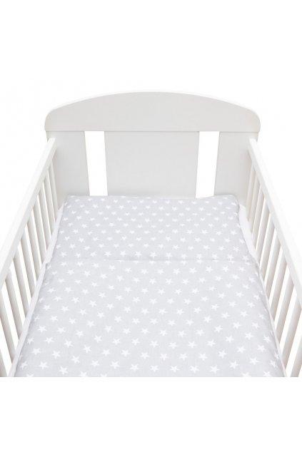 2-dielne posteľné obliečky New Baby 90/120 cm sivé Hviezdičky biele
