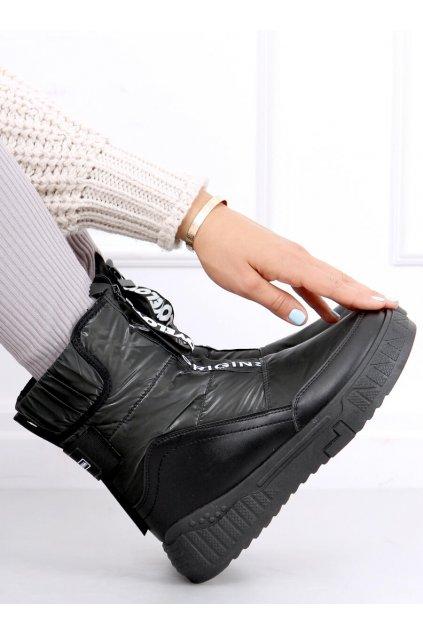 Dámske členkové topánky čierne na plochom podpätku NB510P