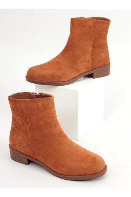Dámske členkové topánky hnedé na plochom podpätku 6215