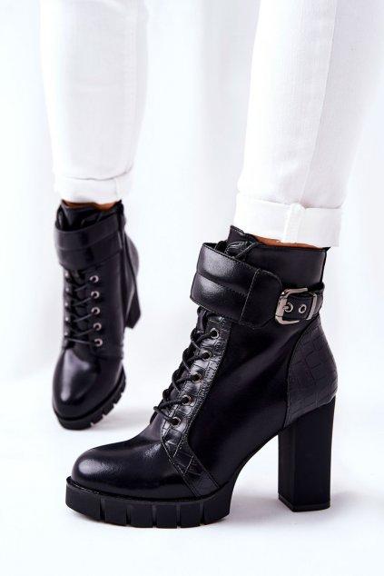 Členkové topánky na podpätku farba čierna kód obuvi 21-11011BK