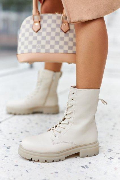 Členkové topánky na podpätku farba hnedá kód obuvi 21BT35-4235 BEIGE