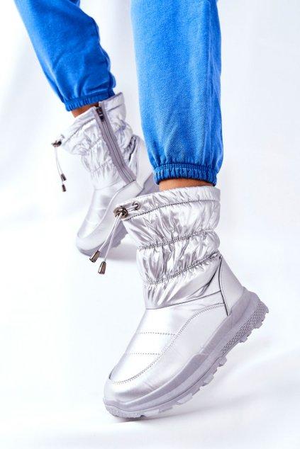 Dámske snehule farba sivá kód obuvi 21SN26-4353 SILVER