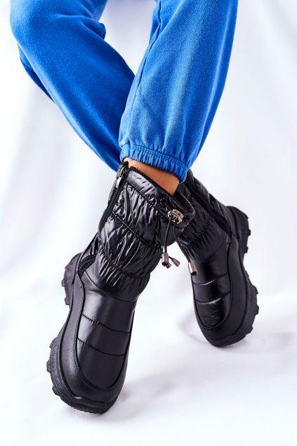 Dámske snehule farba čierna kód obuvi 21SN26-4353 BLK
