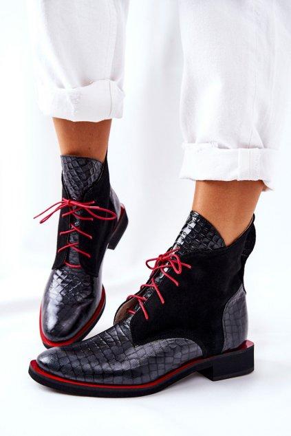 Členkové topánky na podpätku farba čierna kód obuvi 2513 BLK KROK+ZAMSZ