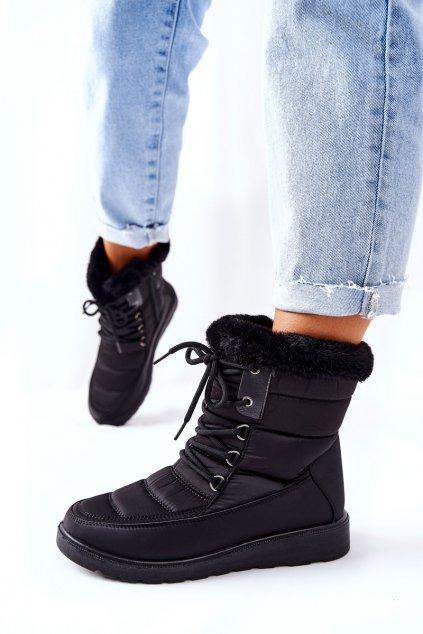 Dámske snehule farba čierna kód obuvi 22-34517 BK