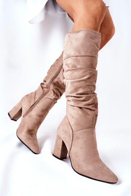 Dámske čižmy farba hnedá kód obuvi 22-16247 BE