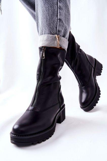 Členkové topánky na podpätku farba čierna kód obuvi 22-16271 BK
