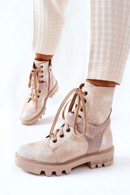 Členkové topánky na podpätku farba hnedá kód obuvi 05219-04/00-3 BEIGE