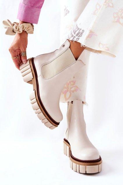 Členkové topánky na podpätku farba hnedá kód obuvi 05312-04 BEIGE