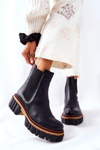Členkové topánky na podpätku farba čierna kód obuvi 05312-01 BLK
