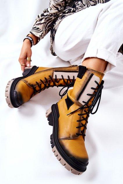 Členkové topánky na podpätku farba čierna kód obuvi 05113-07 ŻÓŁTY