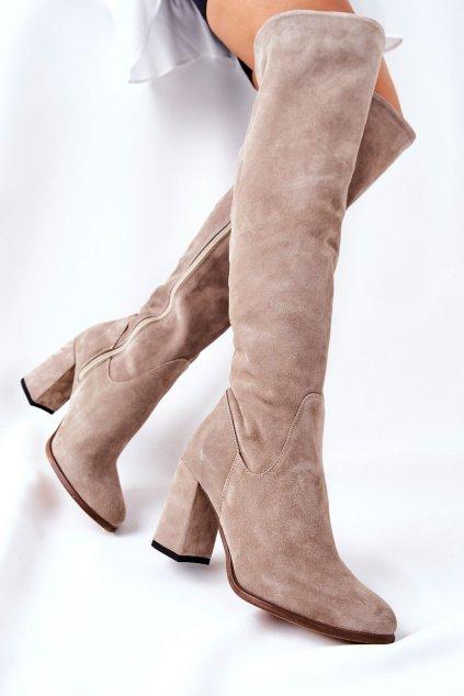 Dámske čižmy farba hnedá kód obuvi 2125 CAPUCINO WEL