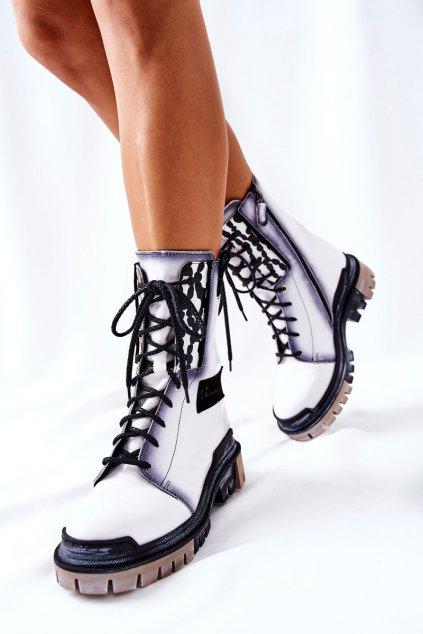 Členkové topánky na podpätku farba čierna kód obuvi 05113-11 WHITE