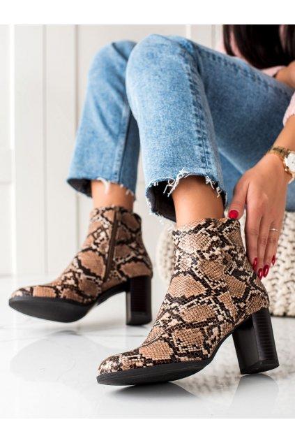 Hnedé dámske topánky Trendi kod G119BE