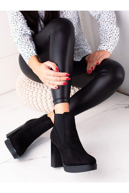 Čierne dámske topánky Lovery kod 9568B