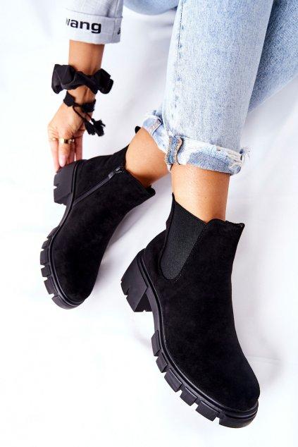 Členkové topánky na podpätku farba čierna kód obuvi DA82P BLK