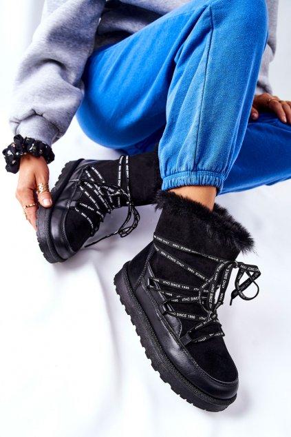 Dámske snehule farba čierna kód obuvi 21-16002BK