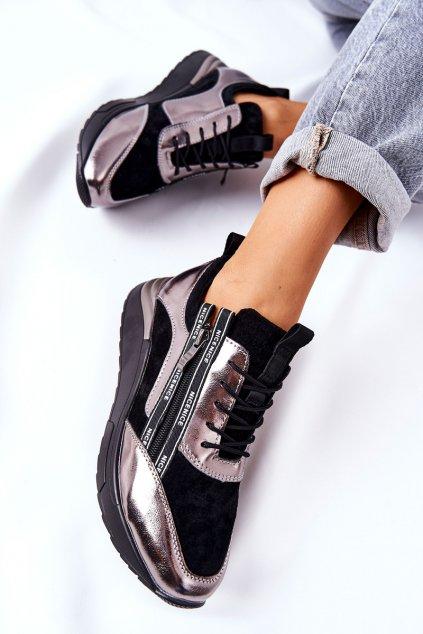 Dámske tenisky farba čierna kód obuvi 21-15001BKM