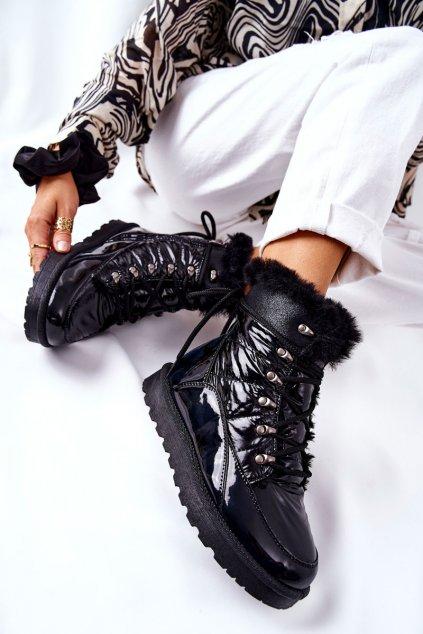 Dámske snehule farba čierna kód obuvi 21-16003BK