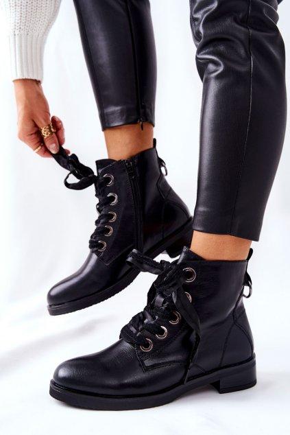 Členkové topánky na podpätku farba čierna kód obuvi 21BT35-4208 BLK