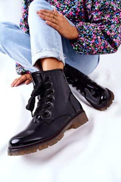 Členkové topánky na podpätku farba čierna kód obuvi 21BT35-4233 BLK