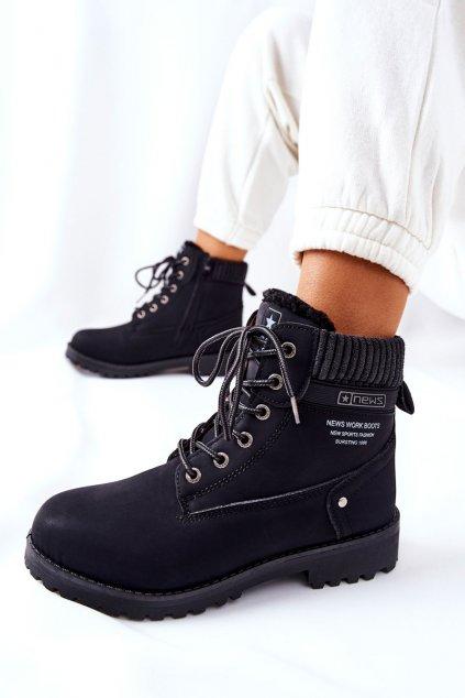 Členkové topánky na podpätku farba čierna kód obuvi 8BT26-0746 BLK
