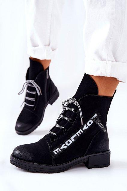 Členkové topánky na podpätku farba čierna kód obuvi 21-12004BK