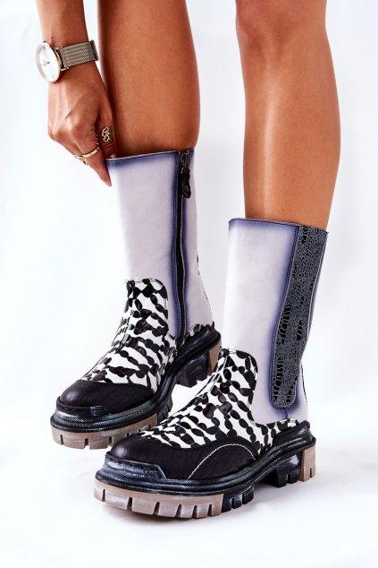 Členkové topánky na podpätku farba čierna kód obuvi 05141-11 BLK/WHT
