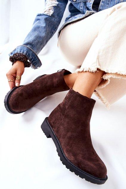 Členkové topánky na podpätku farba hnedá kód obuvi RM09-20 COFFEE