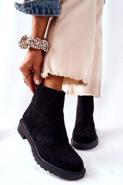 Členkové topánky na podpätku farba čierna kód obuvi RM09-1 BLK