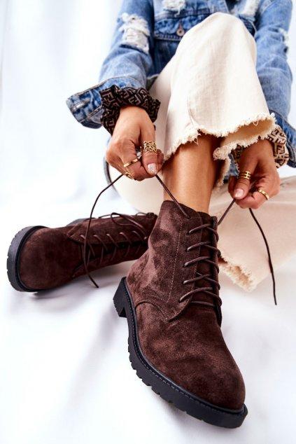 Členkové topánky na podpätku farba hnedá kód obuvi RM06-20 COFFEE