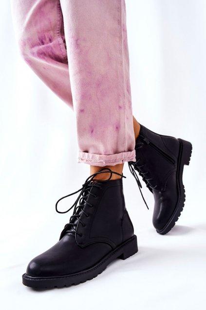Členkové topánky na podpätku farba čierna kód obuvi RM06M-1 BLK