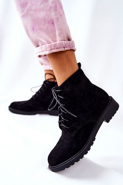 Členkové topánky na podpätku farba čierna kód obuvi RM06-1 BLK
