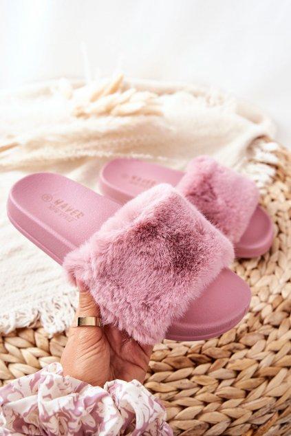 Dámske šľapky farba ružová kód obuvi HN52-12 D.PINK