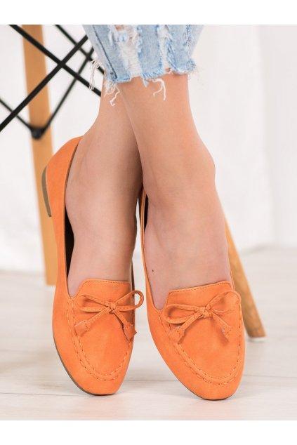 Oranžové dámske mokasíny Nio nio kod 99-07A-OR
