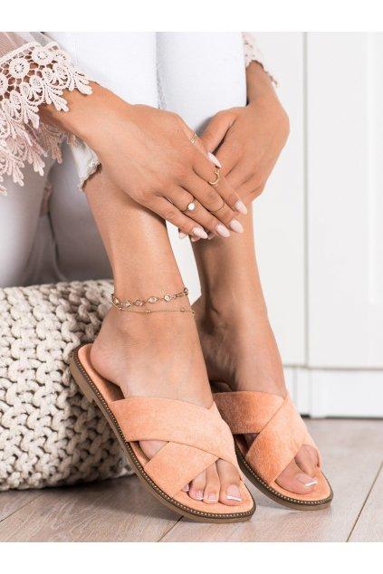 Oranžové dámske šľapky Ideal shoes kod 5143PE