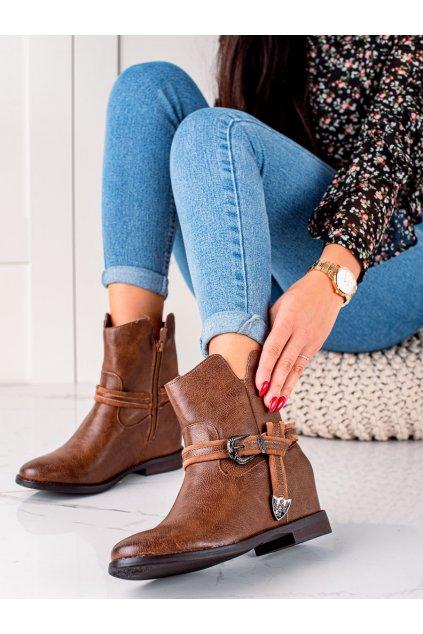 Hnedé dámske topánky Trendi kod HQ239C