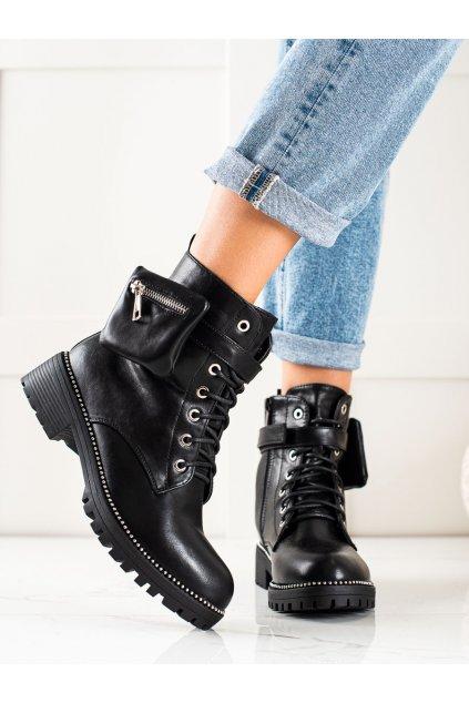 Čierne dámske topánky Queen vivi kod J218B