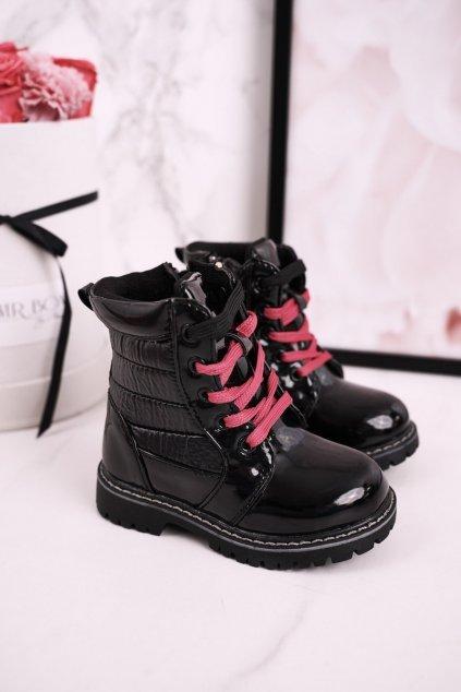 Detské členkové topánky farba čierna kód obuvi E08162A-1/C08162A-1 BLK/PEACH