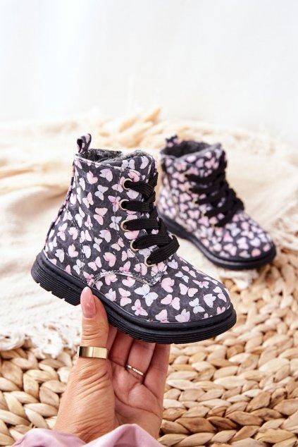 Detské členkové topánky farba sivá kód obuvi 21DZ23-4342 MULTI