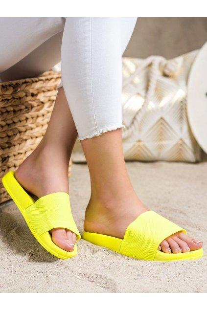Žlté dámske šľapky Trendi kod WS04Y