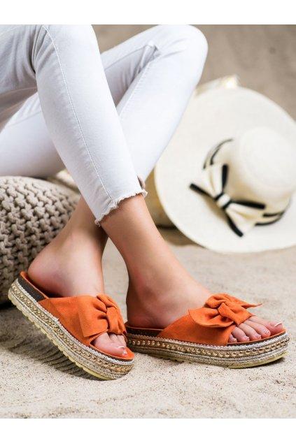Oranžové dámske šľapky Trendi kod 7-2083OR