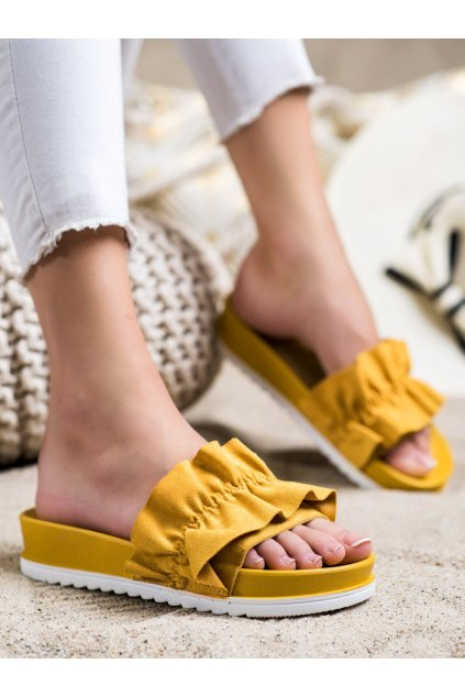 Žlté dámske šľapky Trendi kod 7-2066Y
