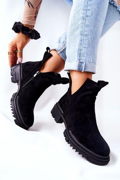 Členkové topánky na podpätku farba čierna kód obuvi 21-18005 BLK