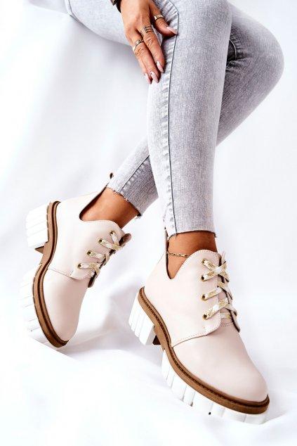 Členkové topánky na podpätku farba hnedá kód obuvi 4078-S BEZ LICO BEIGE