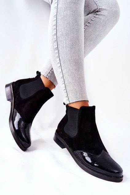 Členkové topánky na podpätku farba čierna kód obuvi 2096 087-081 BLK
