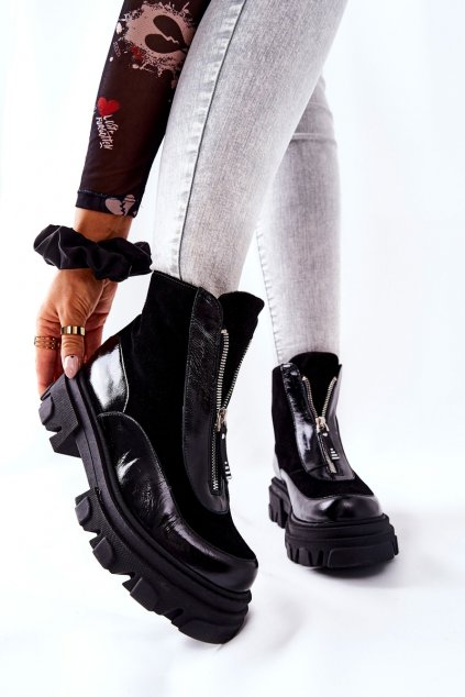 Členkové topánky na podpätku farba čierna kód obuvi 2371 600-500 BLK