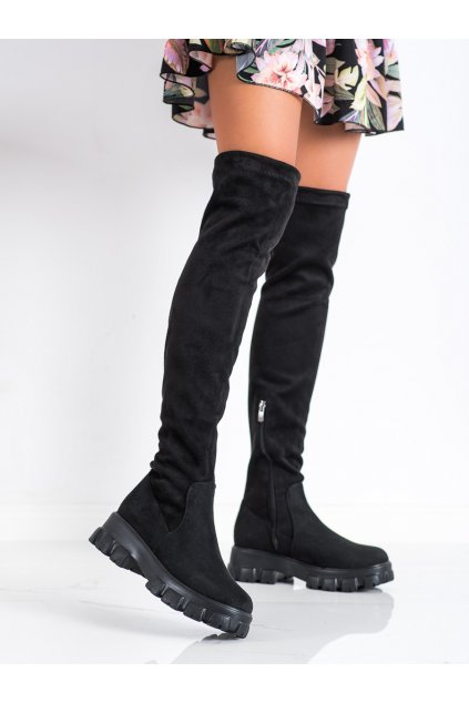 Čierne dámske čižmy Trendi kod 21-53001B