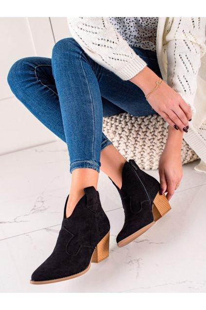 Čierne dámske topánky Lucky shoes kod T221B